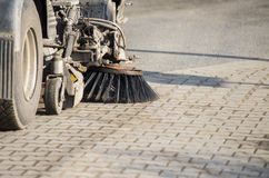 Street sweeper machine cleaning the street Stock Photography