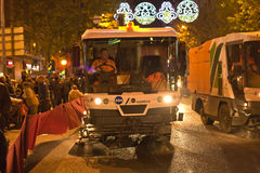 Street sweeper machine. CORDOBA - JAN 5: street sweeper machine car cleaning the road  before the Three Kings parade, on January 5, 2015 in Cordoba, Spain Royalty Free Stock Image