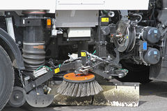 Street Sweeper Machine. Mechanical Street Sweeper and Vacuum Cleaning Machine Royalty Free Stock Photos