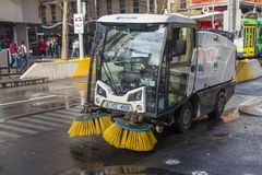 Street sweeper. Melbourne, Australia - Jul 26, 2015: Street sweeper used for street cleaning services in Melbourne, Australia Stock Photos