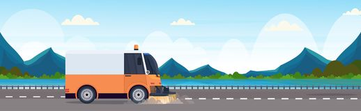 Street sweeper truck machine cleaning process industrial vehicle asphalt road service concept river mountains landscape. Background horizontal banner flat vector illustration