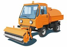 Street sweeper. Vector isolated orange street sweeper on white background Stock Image