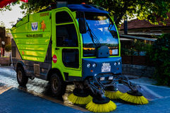 Street Sweeper Vehicle On Duty. Small street sweeper belongs to the smallest city of the country Turkey named Yalova city. Municipality renewed many of their Stock Photo
