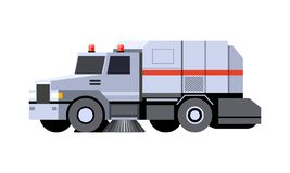 Street sweeper vehicle. Minimalistic icon city sweeper truck front side view. Street sweeper vehicle. Modern vector isolated illustration. COE - cab over engine stock illustration
