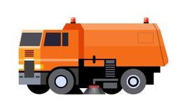 Street sweeper vehicle. Minimalistic icon city sweeper truck front side view. Street sweeper vehicle. Modern vector isolated illustration. COE - cab over engine royalty free illustration