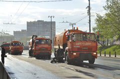 Street sweeper vehicles Royalty Free Stock Photos