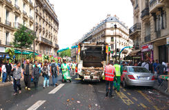 Street Sweepers after Ganesh Chaturthi Festival. Street sweepers and garbage truck cleaning up after the Ganesh Chaturthi procession. Rue du faubourg Saint-Denis Stock Photos