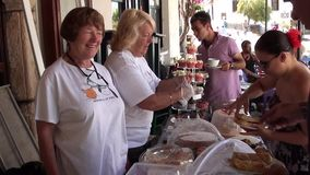 At the street sweet buffet sale. At the street sweet and pastry buffet sales stock video footage