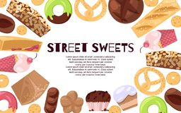 Street sweets banner vector illustration. Candies of different cuisines such as ice cream, donuts, cupcakes, dessert. Cakes and french bread. Cookies and vector illustration