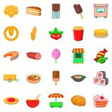 Street sweets icons set, cartoon style. Street sweets icons set. Cartoon set of 25 street sweets vector icons for web isolated on white background Royalty Free Stock Photos