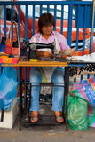 Street Tailor Woman Bangkok Straight Royalty Free Stock Photo