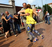 Street-tango in Monza on May 14, 2017. Street-tango image, meeting of tango dancers, held in monza, Italy, on May 14, 2017 Stock Images