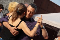 Street-tango in Monza on May 14, 2017. Street-tango image, meeting of tango dancers, held in monza, Italy, on May 14, 2017 Stock Photos