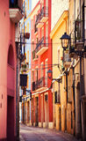 Street in Tarragona. With colorful houses, Spain stock images