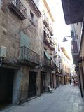 Street in Tarrega, Spain. Small street in Tarrega, Spain stock photography