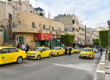 Street with taxi in Bethlehem, Palestine Royalty Free Stock Image