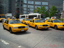 Street Taxi Traffic New York City USA. Rush hour street traffic in Columbus Circle, New York City stock image