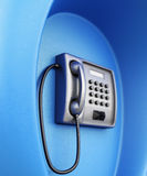 Street telephone closeup in blue box. 3d rendering Stock Photography