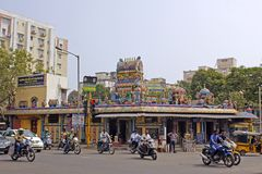 Street and temple in Chennai Stock Photography