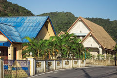 Street Thai village at the foot of the mountains Royalty Free Stock Photography