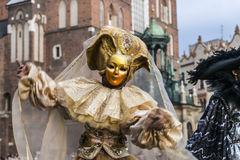 Street Theater festival. Each year in the Krakow International Festival of street theatre. A parade of performers Royalty Free Stock Photography