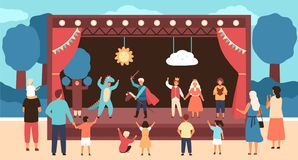 Street theatre for children with actors dressed in costumes performing play or fairytale in front of audience. Outdoor stock illustration