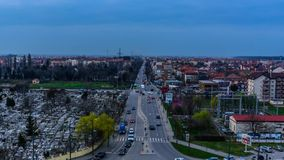 Street time lapse from above. Video of a crowded street in Timisoara stock footage
