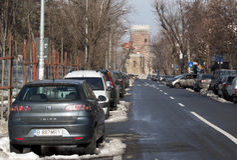 Street to dracula castle replica Stock Photo