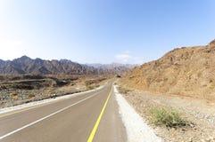 Street to Jebel Hafeet, Abu Dhabi, United Arab Emirates stock photography