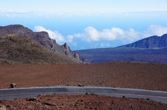 Street to Mauna-Kea-Observatory, Hawaii, USA Stock Images