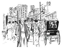 Street in Tokyo with people in traditional dress. Vector illustration all the characters and sign are fictitious royalty free illustration