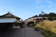 The street on  top of mt.emei royalty free stock photography