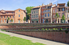 Street of Toulouse. View on the Daurade square in Toulouse, France Royalty Free Stock Photo