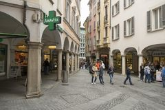 A street with touristic shops and cafe in Lugano, Switzerland stock image