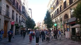 Street with tourists in Madrid Stock Photos