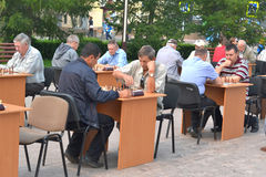 Street tournament on chess on a holiday day of the athlete. Tyum Royalty Free Stock Photography