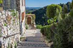 Street of Tourrettes-sur-Loup. A medieval village in the Alpes-Maritimes department in southeastern France Royalty Free Stock Photos