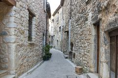 Street of Tourrettes-sur-Loup. A medieval village in the Alpes-Maritimes department in southeastern France Stock Photos