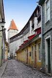 Street and tower of a city wall. Old city. Tallinn, Estonia.  royalty free stock photo