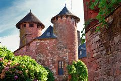 Street and towers at Collonges-la-Rouge in Correze Stock Photography