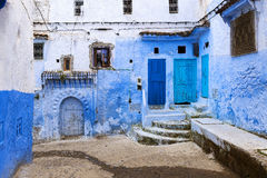 Street in the town of Chefchaouen in Morocco Royalty Free Stock Photo