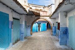 Street in the town of Chefchaouen in Morocco. View of a street in the town of Chefchaouen in Morocco stock photo