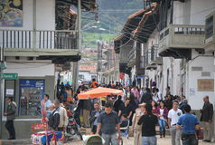 Street in Villa de Leyva, the town close to Bogota. One of the street with typical architecture in Villa de Leyva, Colombia Royalty Free Stock Images