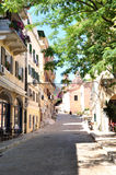 Street in the town of Corfu, Greece, Europe Royalty Free Stock Photos