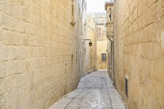 Road of Mdina. Street of the town of Mdina in Malta Royalty Free Stock Images