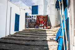 Street in the town of Sidi Bou Said, Tunisia Royalty Free Stock Images