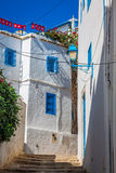 Street in the town of Sidi Bou Said, Tunisia Royalty Free Stock Photo