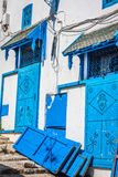 Street in the town of Sidi Bou Said, Tunisia Royalty Free Stock Photography