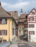 Street in the town of Stein Am Rhein Stock Photos