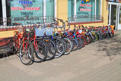 Street trade in bicycles at sporting goods store. GUSEV, KALININGRAD REGION, RUSSIA - MAY 6, 2016: Street trade in bicycles at sporting goods store Royalty Free Stock Image